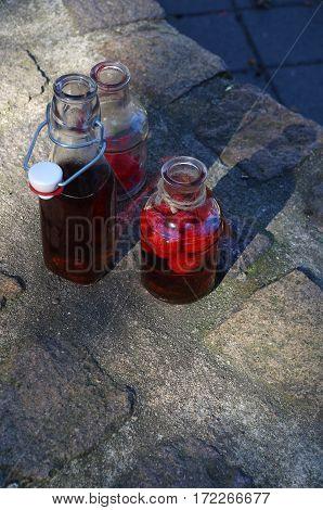 tasty home made raspberry balsamic vinegar - outdoor shot