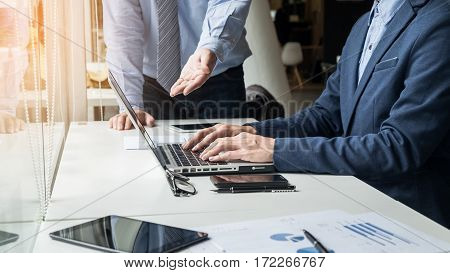 Business Man Working With Computer In Team Meeting Talking Discussion Brainstorming Communication Co