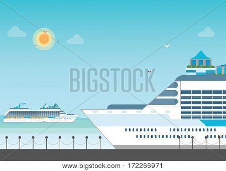 Cruise ship anchored at sea port Ocean traveling visual flat design vector illustration.