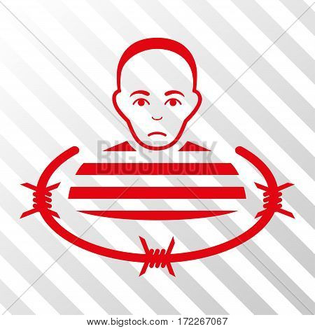 Red Isolated Prisoner interface toolbar pictogram. Vector pictogram style is a flat symbol on diagonally hatched transparent background.