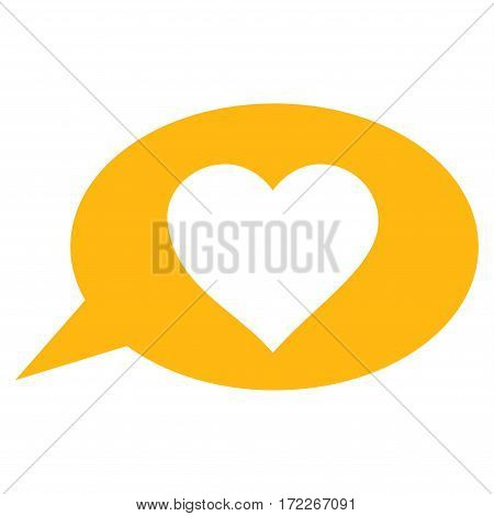 Love Message Balloon flat icon. Vector yellow symbol. Pictogram is isolated on a white background. Trendy flat style illustration for web site design logo ads apps user interface.