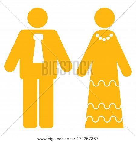 Newlyweds flat icon. Vector yellow symbol. Pictogram is isolated on a white background. Trendy flat style illustration for web site design logo ads apps user interface.