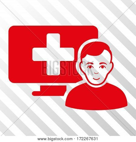 Red Online Medicine interface icon. Vector pictogram style is a flat symbol on diagonally hatched transparent background.