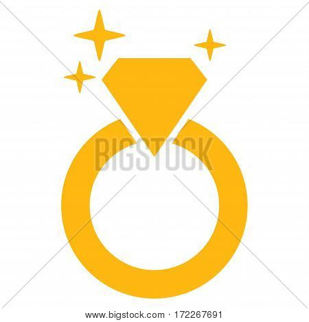 Sparkle Diamond Ring flat icon. Vector yellow symbol. Pictogram is isolated on a white background. Trendy flat style illustration for web site design logo ads apps user interface.