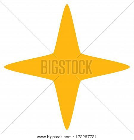 Sparkle Star flat icon. Vector yellow symbol. Pictograph is isolated on a white background. Trendy flat style illustration for web site design logo ads apps user interface.