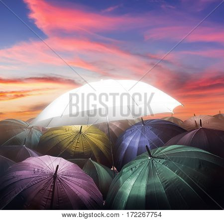 umbrella lights glowing standing out from crowd of dark umbrella Business leadership concept being different concepts.