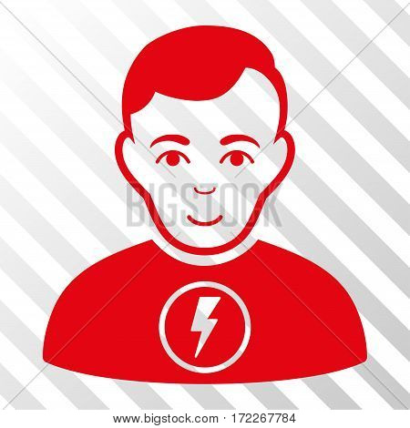 Red Power Man interface toolbar pictogram. Vector pictogram style is a flat symbol on diagonally hatched transparent background.