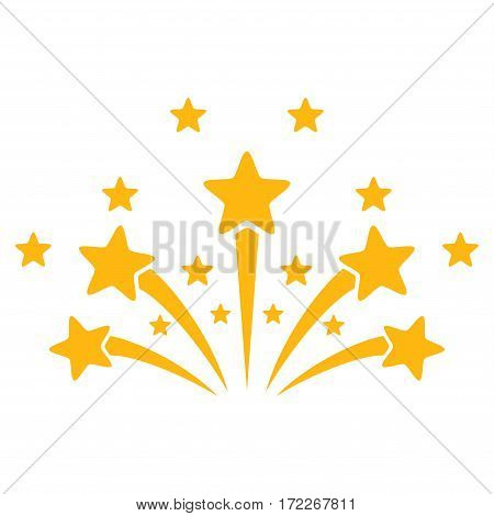 Star Fireworks flat icon. Vector yellow symbol. Pictograph is isolated on a white background. Trendy flat style illustration for web site design logo ads apps user interface.
