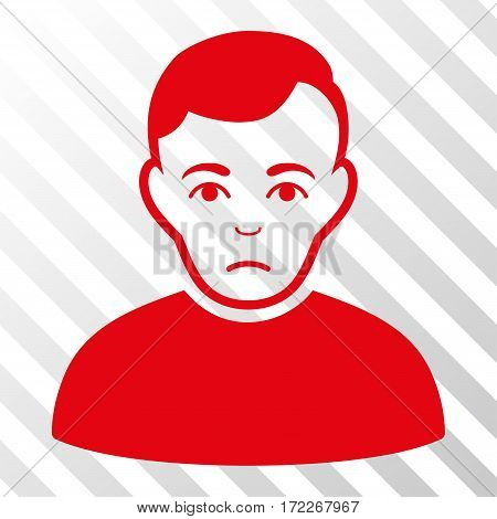 Red Sad Man interface pictogram. Vector pictogram style is a flat symbol on diagonally hatched transparent background.