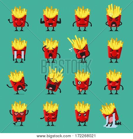 French fries character emoji set. Funny cartoon emoticons