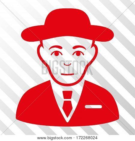 Red Secret Service Agent toolbar pictogram. Vector pictogram style is a flat symbol on diagonal hatch transparent background.