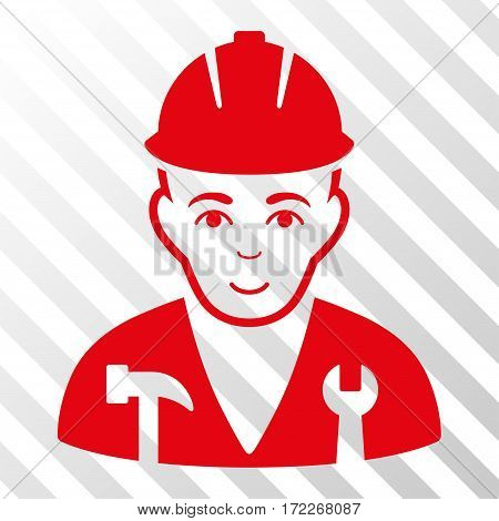 Red Serviceman interface toolbar icon. Vector pictograph style is a flat symbol on diagonally hatched transparent background.