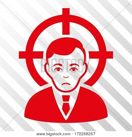 Red Victim Businessman toolbar icon. Vector pictograph style is a flat symbol on diagonal hatch transparent background.