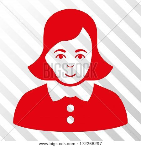 Red Woman interface pictogram. Vector pictogram style is a flat symbol on diagonal hatch transparent background.