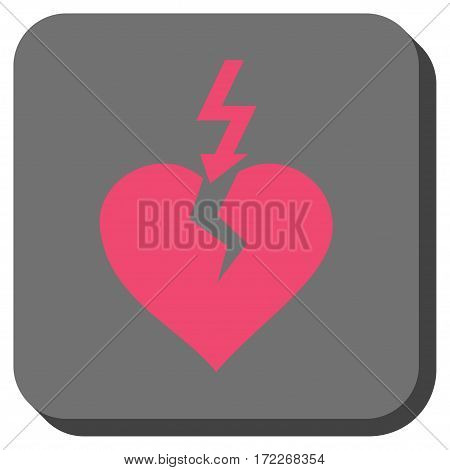 Break Heart square icon. Vector pictogram style is a flat symbol on a rounded square button pink and gray colors.