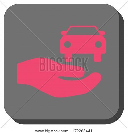 Car Gift Hand interface button. Vector pictogram style is a flat symbol in a rounded square button pink and gray colors.