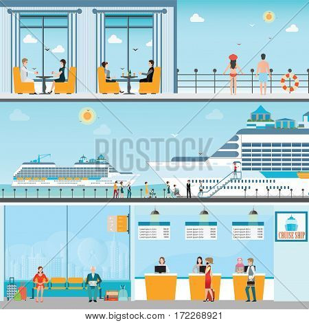 Info of Cruise ship terminal at sea port with moored transatlantic liner and cruise people ticket counterinterior of cruise ship and cruise ship deck travel vector illustration.