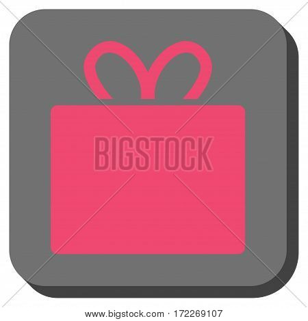 Gift toolbar button. Vector pictogram style is a flat symbol centered in a rounded square button pink and gray colors.