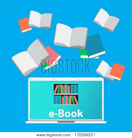 Concept Digital Library E-books in Laptop for education and learning