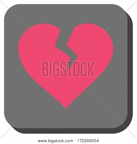 Heart Break toolbar button. Vector pictograph style is a flat symbol on a rounded square button pink and gray colors.
