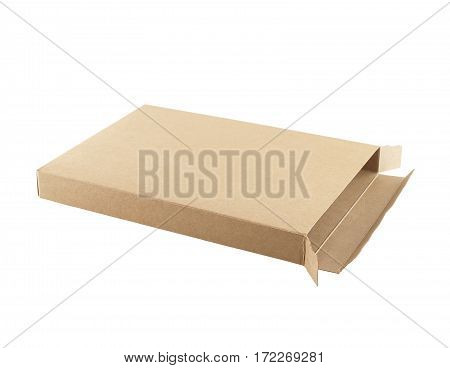 recycled paper box isolated on white background, for postal delivery