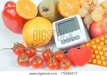Vintage Photo, Blood Pressure Monitor, Fruits With Vegetables And Medical Pills, Healthy Lifestyle