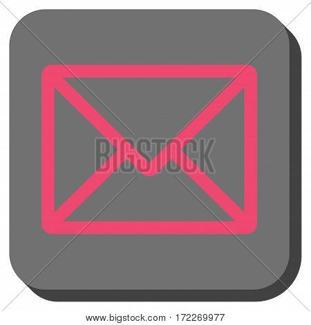 Letter rounded button. Vector pictogram style is a flat symbol in a rounded square button pink and gray colors.