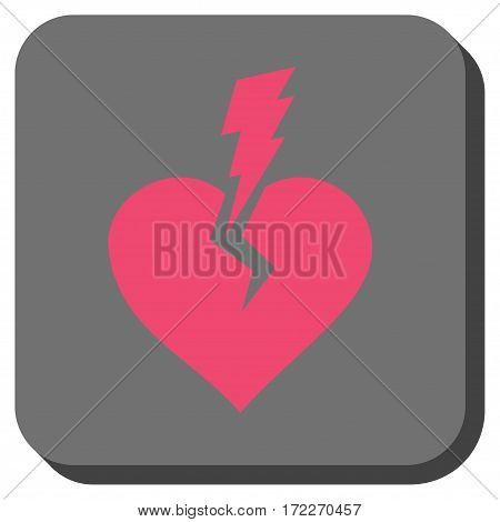 Love Heart Crash toolbar button. Vector pictograph style is a flat symbol centered in a rounded square button pink and gray colors.