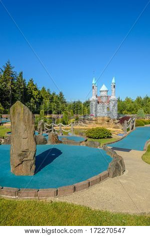 Beautiful mini golf course at sunny day.