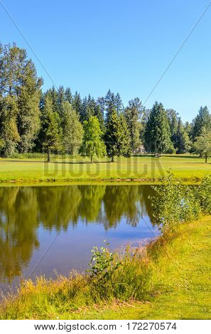 Golf course with gorgeous green and fantastic mountain view