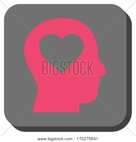 Love In Head interface icon. Vector pictograph style is a flat symbol centered in a rounded square button pink and gray colors.