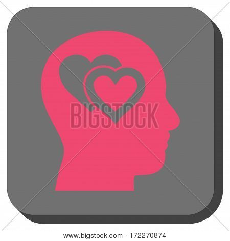 Love In Mind interface button. Vector pictograph style is a flat symbol inside a rounded square button pink and gray colors.