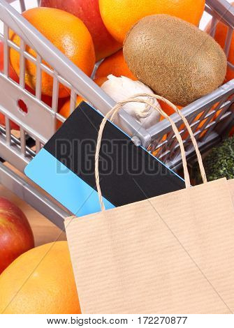 Contactless Credit Card, Paper Shopping Bag And Fruits With Vegetables, Cashless Paying For Shopping