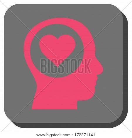 Love Thinking Head toolbar button. Vector pictogram style is a flat symbol on a rounded square button pink and gray colors.