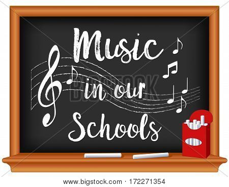 Music in Our Schools Month, March, national holiday to promote and celebrate music in education, notes, treble clef staff, box of chalk, wood frame blackboard.