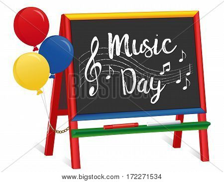 Music Day, chalkboard easel for children, balloons, treble clef, staff, notes, chalk text, multi color wood  for preschool, daycare, nursery school, kindergarten. March is Music Month.