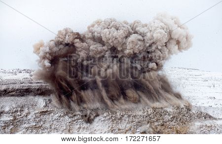 Explosive works on open pit. Gold mining.