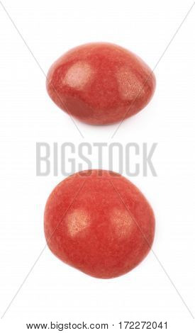 Single chewing candy close-up image isolated over the white background, set of two different foreshortenings