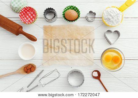 Baking Background With Baking Paper And Ingredients