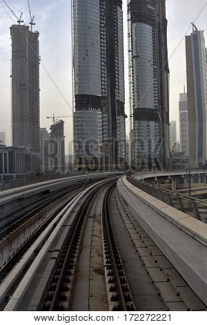 Dubai, United Arab Emirates - February 19, 2017, The Dubai Metro is a driverless, fully automated metro rail network in Dubai, United Arab Emirates
