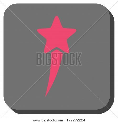 Starting Star rounded icon. Vector pictograph style is a flat symbol in a rounded square button pink and gray colors.