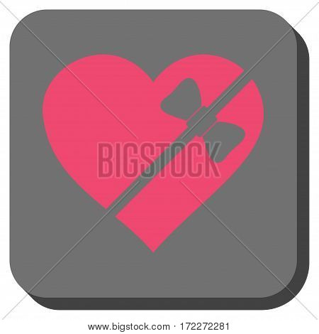 Tied Love Heart square icon. Vector pictogram style is a flat symbol inside a rounded square button pink and gray colors.