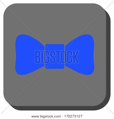 Bow Tie interface toolbar button. Vector pictogram style is a flat symbol inside a rounded square button blue and gray colors.