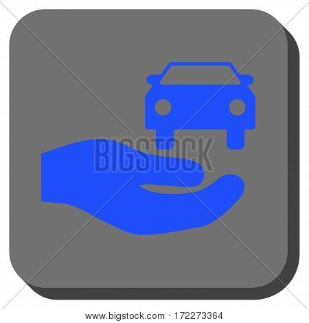 Car Gift Hand rounded icon. Vector pictogram style is a flat symbol in a rounded square button blue and gray colors.