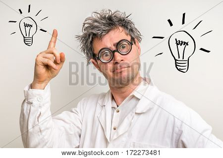 Crazy Scientist Got The Great Idea With Bulb Symbol