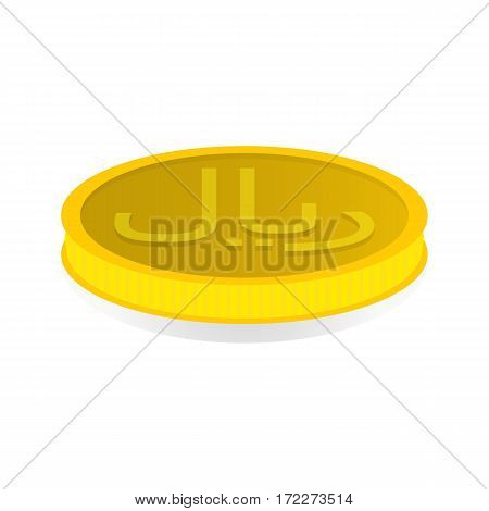 Vector illustration of a gold coin with symbol of rial riyal.