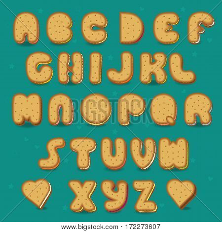 Cookies Alphabet. Vintage style. Festive font. Sweet font. Cookies with colorful filling. Illustration