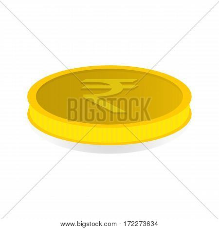 Vector illustration of a gold coin with symbol of rupee rupiah.