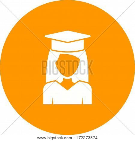 Graduation, lady, high icon vector image. Can also be used for women. Suitable for use on web apps, mobile apps and print media.