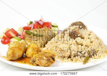 Beef biryani mackerel Fish in spicy mustard chicken curry tomato salad